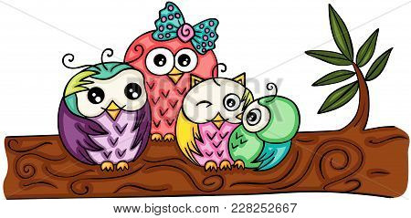 Scalable Vectorial Representing A Cute Owl Family On A Branch, Illustration Isolated On White Backgr