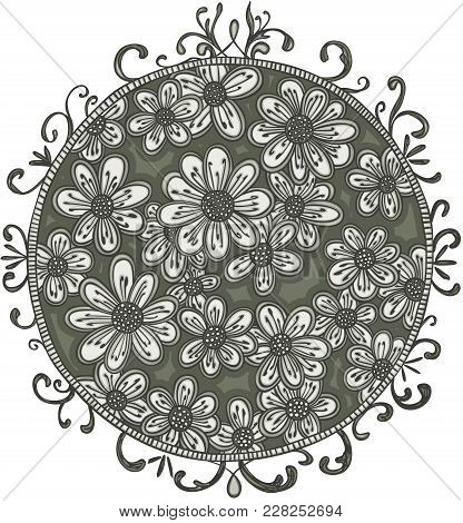 Scalable Vectorial Representing A Flowers On Floral Circle, Element For Design, Illustration Isolate