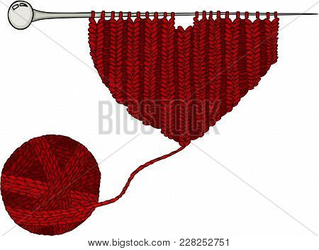 Scalable Vectorial Representing A Red Wool Ball And Heart Knitting Yarn, Element For Design, Illustr