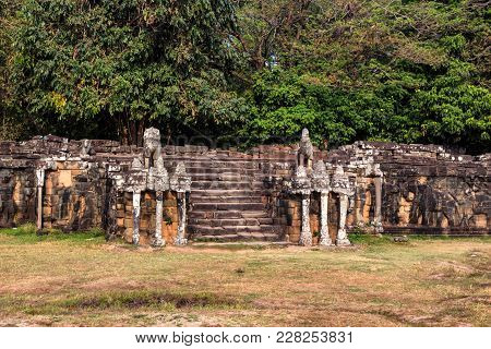 Beautiful View Of Terrace Of The Elephants In Angkor Thom In Cambodia