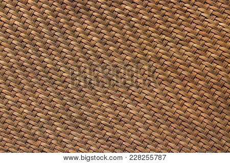 Bamboo Wicker Old Texture And Background Is Used As A Material For Storing Dry Food.