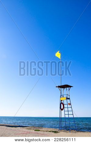 Lifeguard Tower Protecting The Safety Of Tourist On The Beach