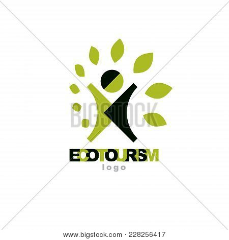 Vector Illustration Of Excited Abstract  Man With Raised Reaching Up. Ecotourism Conceptual Logo. En