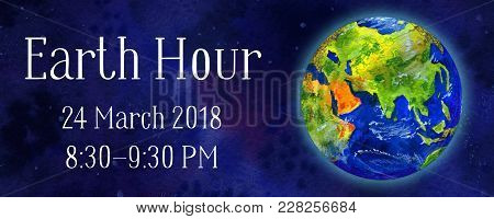 Earth Hour Hand Drawn Watercolor Horizontal Illustration - Globe In Space View Asia And Europe With