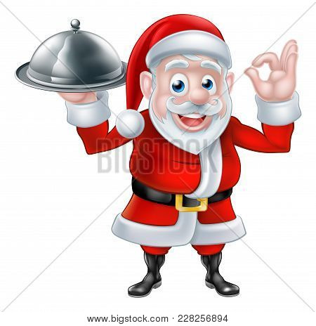 Cartoon Santa Claus Holding A Plate Of Food Or Silver Platter Cloche And Giving A Perfect Or Okay Ha
