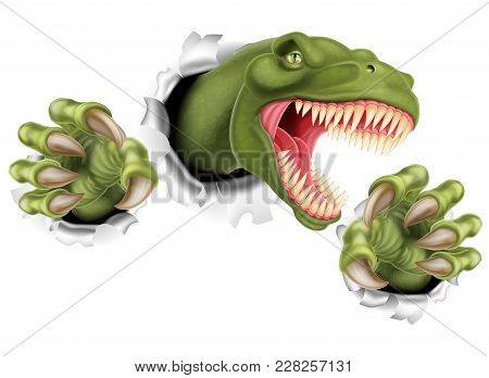 A T Rex Tyrannosaurus Rex Dinosaur Scratching, Ripping And Tearing Through The Background With Its C