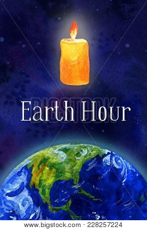 Earth Hour Hand Drawn Watercolor Illustration - Half Globe  View North America And Candle In Outer S