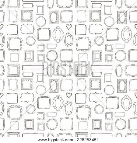 Vector Seamless Pattern, Made Of Vintage Photo Frames, Hand Drawn Doodle Style, Antique Ornamental A