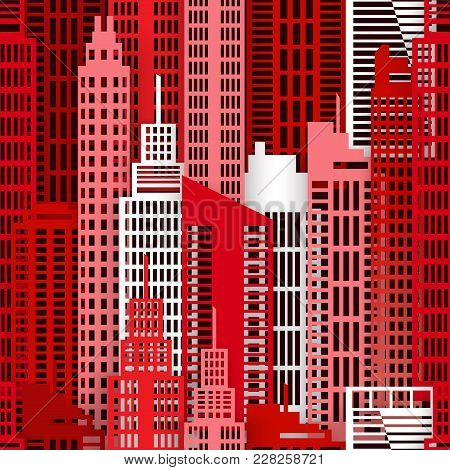 Seamless Urban Background. Paper Skyscrapers. Achitectural Building In Panoramic View. Modern City S