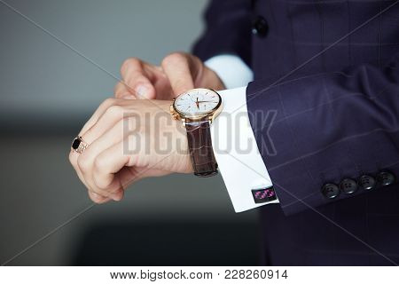Man's Hands With Watches Close-up