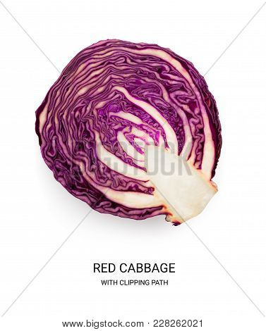 Cut Of Red Cabbage With Clipping Path