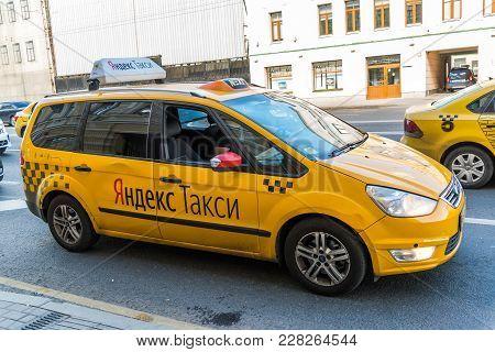 Moscow, Russia - July 24. 2017. Taxi Company Yandex Rides On Prospekt Mira Street
