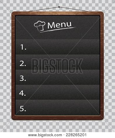 Black Menu Boards Isolated On Transparent Background. Charkboard For Restaurant Food Menu With Chalk