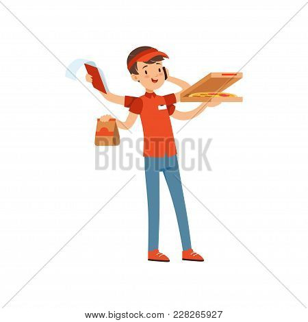 Multitasking Pizza Delivery Boy Character, Boy In Red Uniform With Many Hands Boxes Of Pizza And Tal
