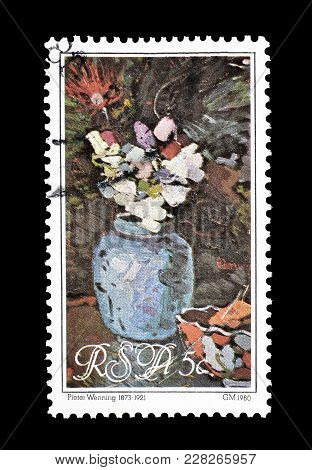 South Africa - Circa 1980 : Cancelled Postage Stamp Printed By South Africa, That Shows Painting Of