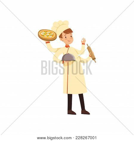 Multitasking Chef Cook Character, Young Man With Many Hands Holding Cloche, Pizza, Rolling Pin And S