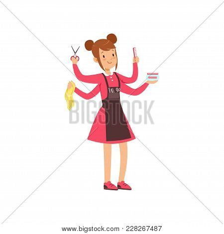 Multitasking Female Hairdresser Character, Young Woman With Many Hands And Hairdressers Tools Vector