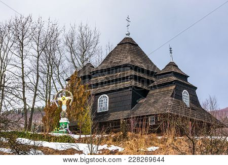 Uzhok, Ukraine - February 25, 2017: Church Of The Archangel Michael - Unesco World Heritage. Old Woo