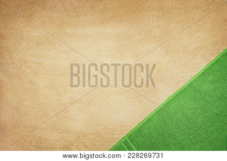 Top View Of Sandy Beach With Towel Frame And Summer Accessories. Background With Copy Space And Visi