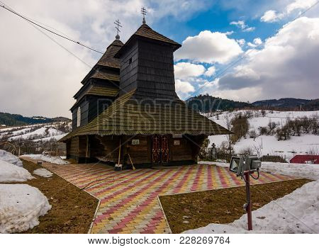 Uzhok, Ukraine - February 25, 2017: Church Of The Archangel Michael - Unesco World Heritage. Old Woo