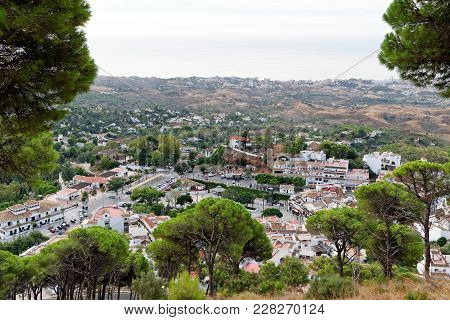 Aerial View Of The Charming White Village Of Mijas In Andalusia, Costa Del Sol, Southern Spain, Seen