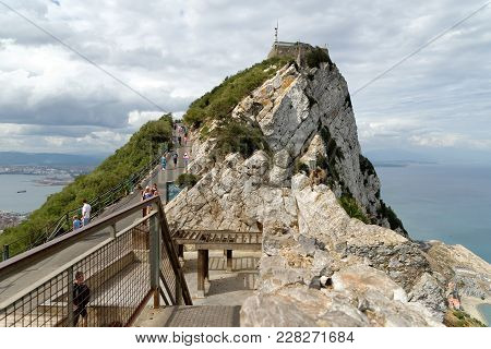 Gibraltar - August 29, 2017:gibraltar Rock View From Above, On The Left Gibraltar Town And Bay, La L