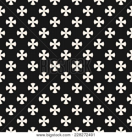 Simple Abstract Floral Pattern. Vector Minimalist Seamless Texture With Small Cross Shapes. Abstract