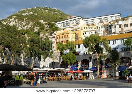 Grand Casemates Square In Gibraltar, British Overseas Territory.