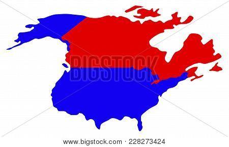 Political Map Of North America. Vector Illustration Design