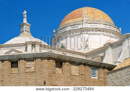 The Dome Of The Holy Cross Cathedral In Cadiz, Andalusia, Spain. It Is Linked To The Memory Of Maste