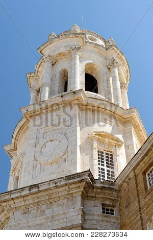 Detail Of The Holy Cross Cathedral In Cadiz, Andalusia, Spain. It Is Linked To The Memory Of Master