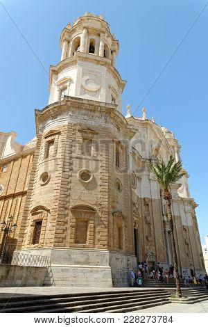 Cadiz, Spain - August 31, 2017: The Holy Cross Cathedral Linked To The Memory Of Master Falla. It To