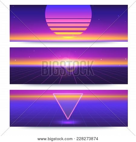 Futuristic Abstract Banners With The Sun On The Horizon. Sci Fi Violet Retro Gradient, Vintage Style