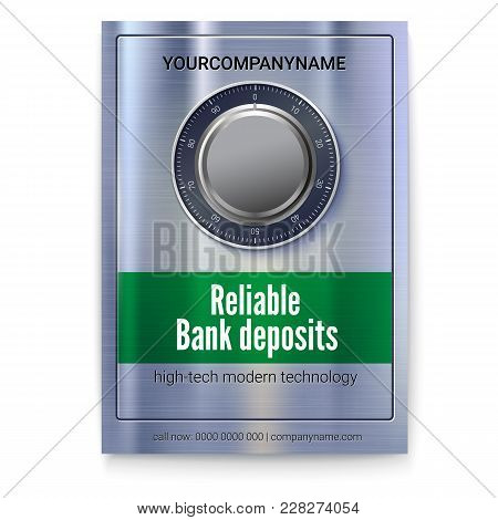 Safety Deposit Box For Storing Money. Poster For Banking Services. Safe Lock On Metal Surface With T