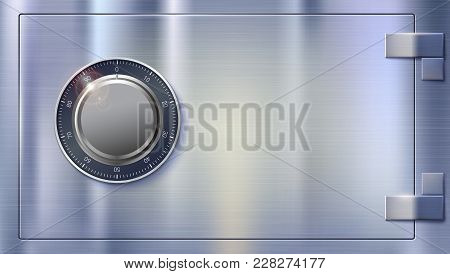 Safety Deposit Box For Storing Money. Safe Lock On Metal Surface With Texture. Realistic Metallic Co