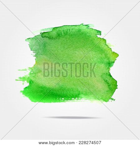 Green Vector Isolated Watercolor Paint Splash, Background With Watercolor Splash In Vector. Abstract