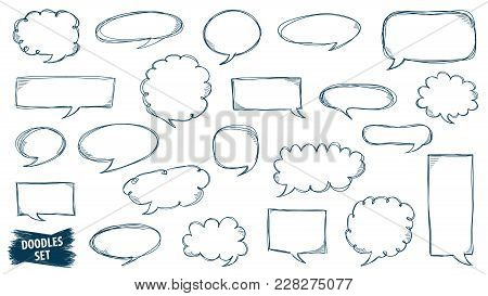 Speech bubble doodles set. Scribble frames collection. Sketch vector. Hand drawn effect illustration