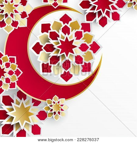 Ramadan Kareem Greeting Card With Arabic Origami Paper Stars And Moon. Holy Month Of Muslim. Symbol