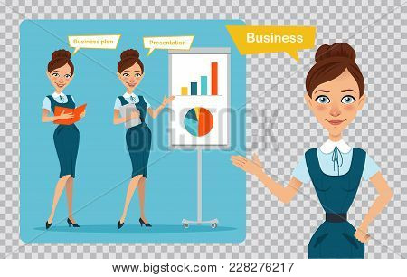 Set Of Business Women Characters. Three Poses. Girl Is Standing With Folder. Girl Is Showing Present