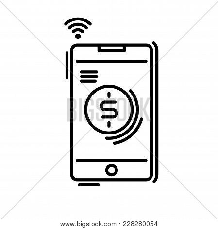 Payment Methods Thin Line Icon. Pay Online, Mobile Phone, Smartphone Application.