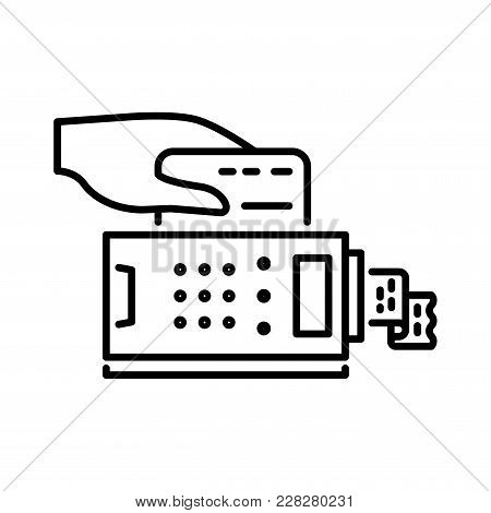 Payment Methods Thin Line Icon. Pay Credit Card, Shopping Pos Terminal