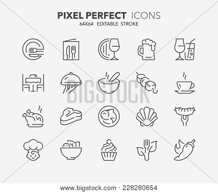 Thin Line Icons Set Of Restaurant And Menu Options. Outline Symbol Collection. Editable Vector Strok