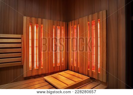 Interior Of Finnish Sauna, Infrared Panels For Medical Procedures, Classic Wooden Sauna