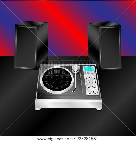 Realistic Illustration Vector Turntable With Stereo Acoustics On Black Surface
