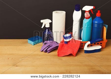 Colorful Group Of Cleaning Supplies For Natural And Environmentally Friendly Tidying Up. Bottles In