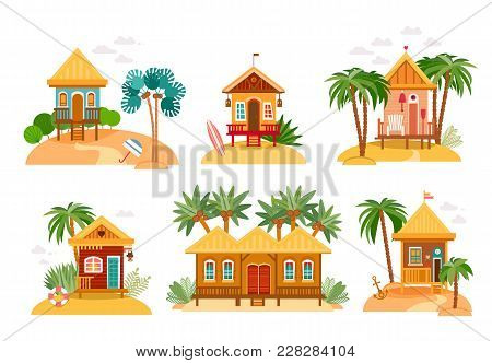 Beach Houses Collection. Cartoon Set Of Straw Huts, Bungalow For Tropical Hotels On Island In Flat D