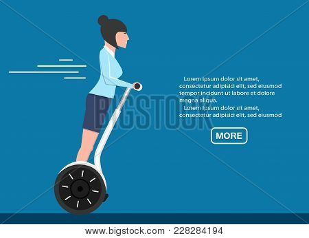 Young Business Woman On Two Wheeled Self Balancing Scooter. Individual Electric City Transportation,