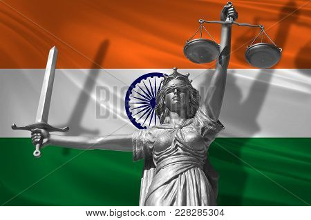 Cover About Law. Statue Of God Of Justice Themis With Flag Of India Background. Original Statue Of J