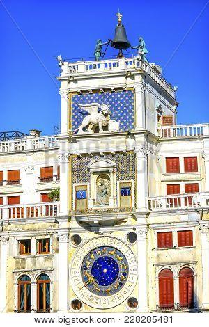 Clock Tower Zodiac Signs Saint Mark's Church Venice Italy