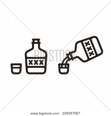 Simple Stylized Bottle Of Alcohol And Shot Glass Icon. Pouring Liquor From Bottle With Xxx Label.